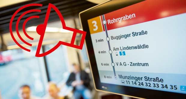 Bildschirm mit Icon für das neue Ansagesystem