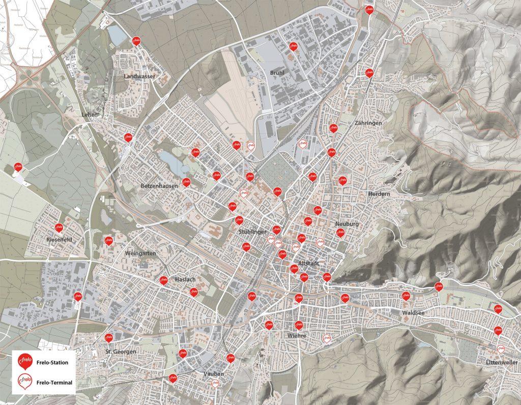 Karte mit allen Frelo-Stationen.