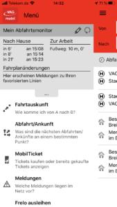 Menü MobilTicket in der App