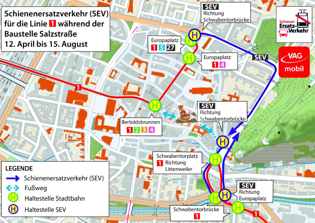 Stadtplan mit Schienenersatzverkehr